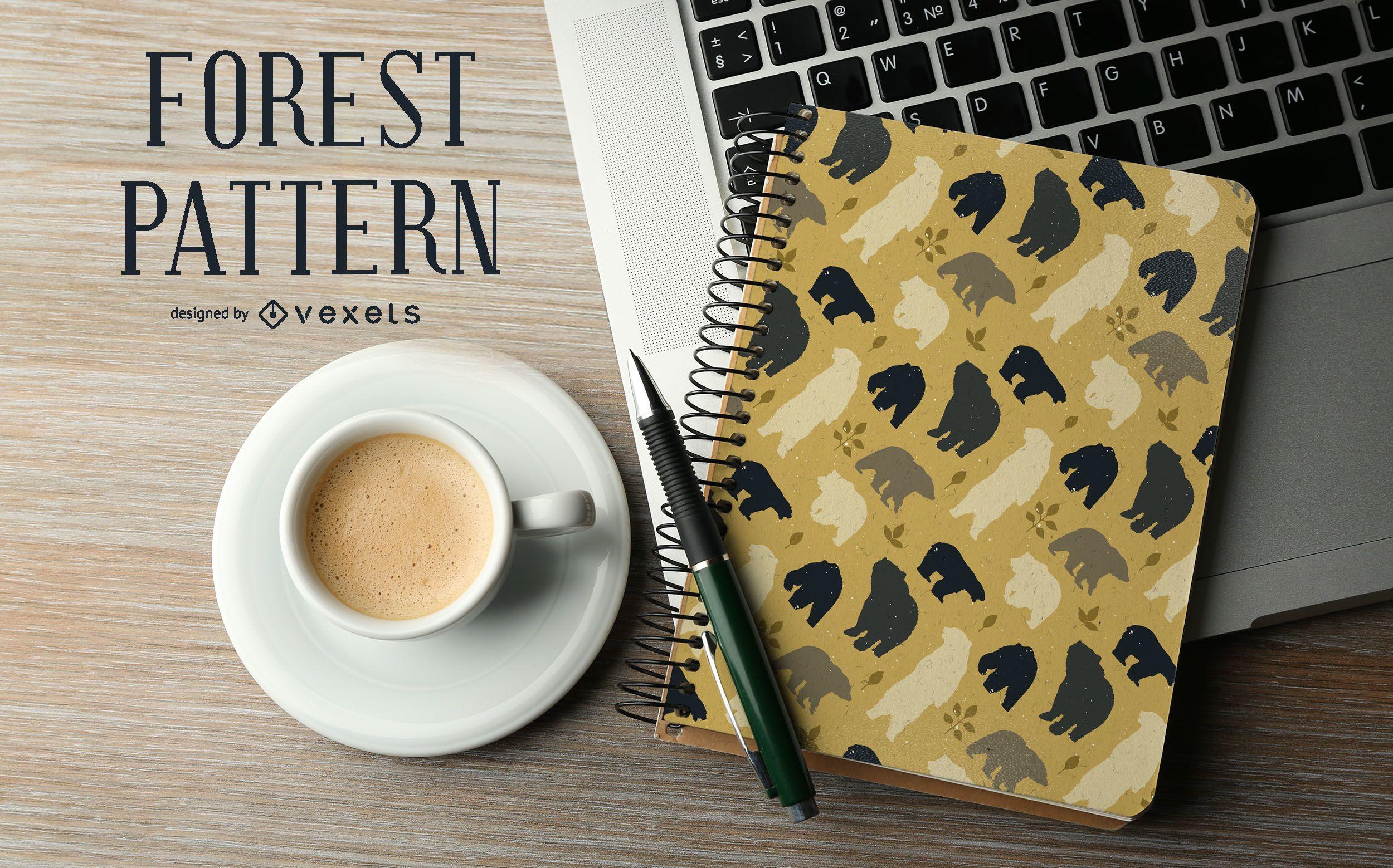 Forest bear silhouette pattern