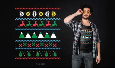 Diseño de camiseta de invierno suéter feo