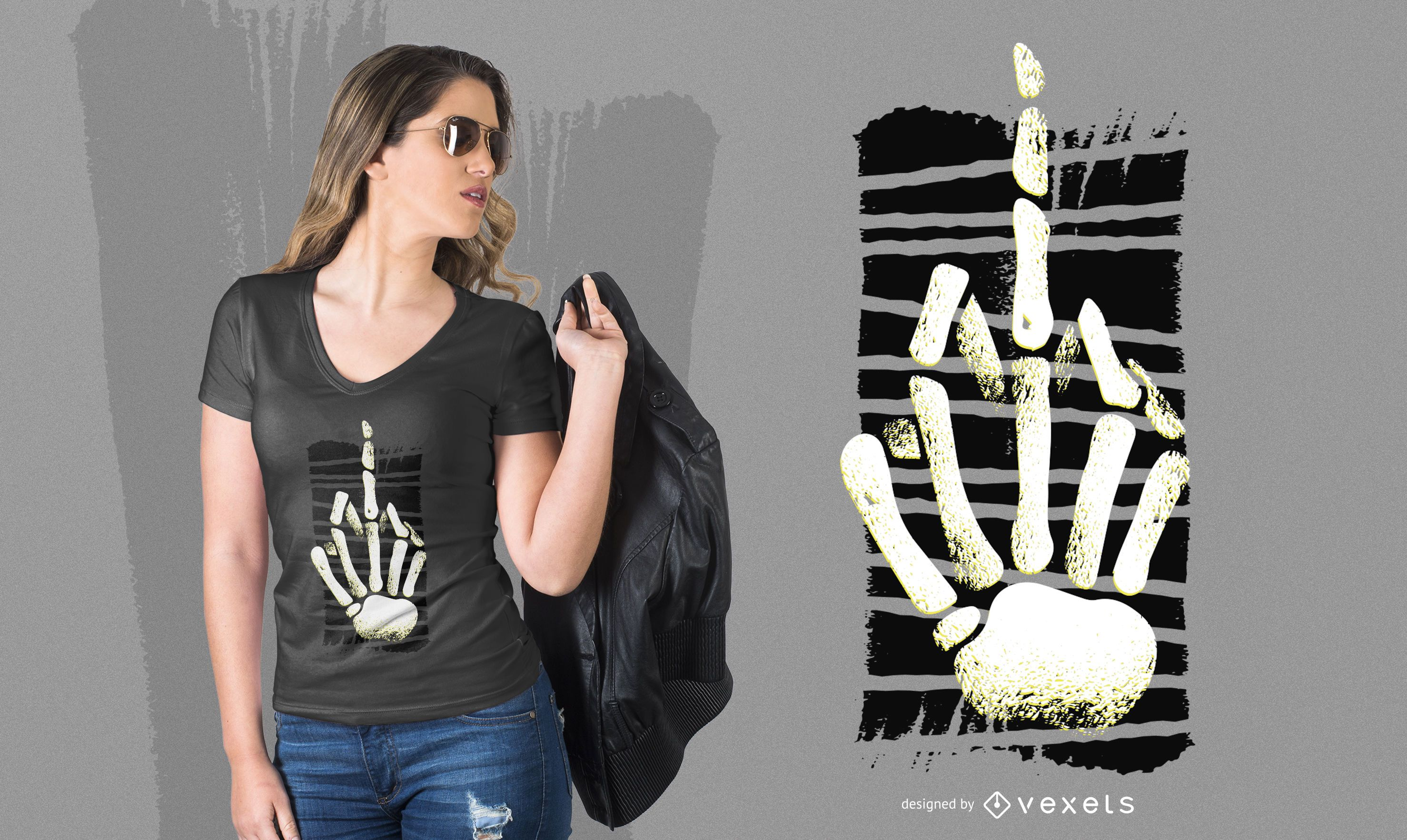 Diseño de camiseta esqueleto dedo medio