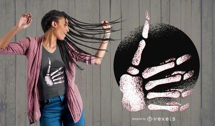 Projeto do t-shirt do polegar da mão de esqueleto