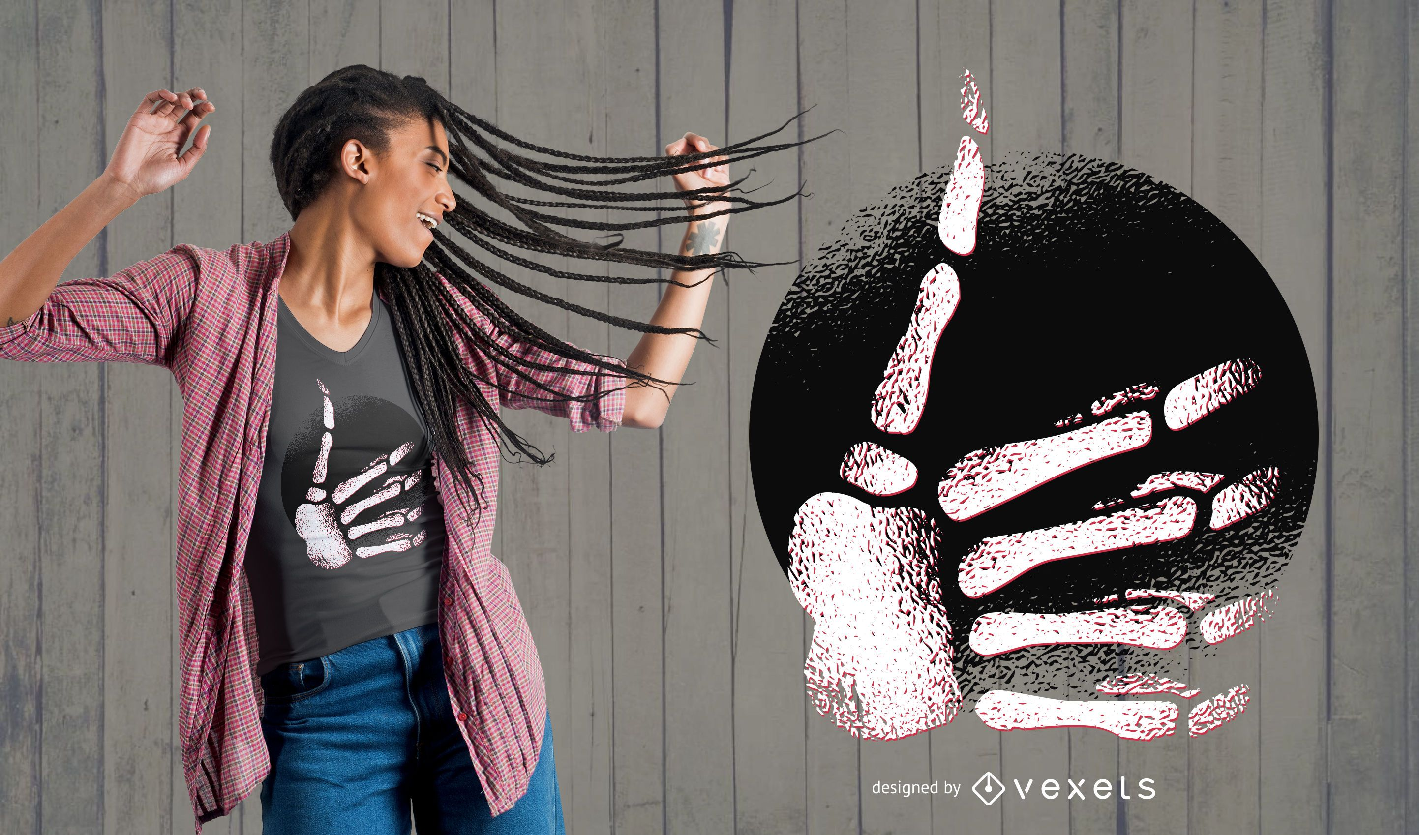 Desenho de t-shirt de esqueleto de mão com polegar
