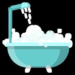 Icono de bañera con ducha.