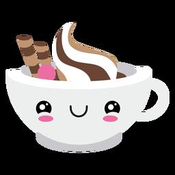 Copo de café para rosto corado kawaii