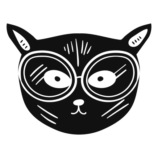 Cat with glasses hand drawn Transparent PNG