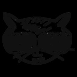 Gato con gafas dibujadas a mano.