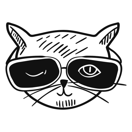 Cat with sunglasses hand drawn Transparent PNG