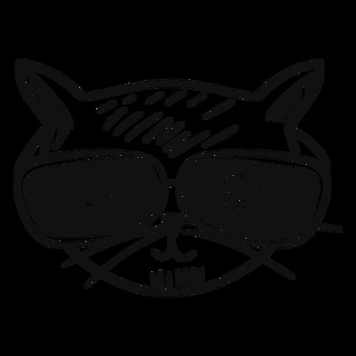 Gato com óculos de sol mão desenhada Transparent PNG