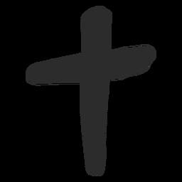 Christian cross scribble icon