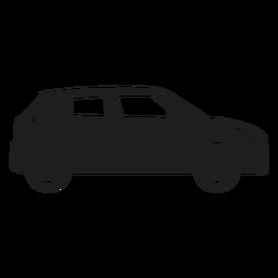 Silhueta de vista lateral de carro compacto