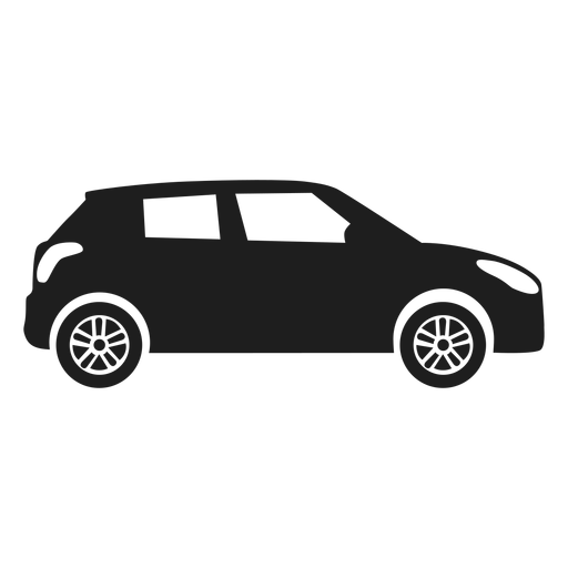 Compact car side view silhouette Transparent PNG