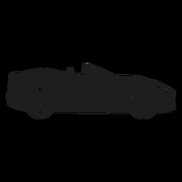 Coche convertible vista lateral silueta