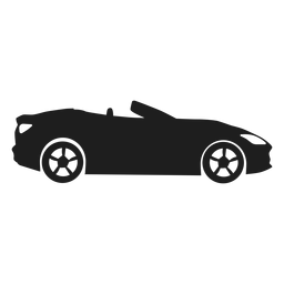 Silueta de vista lateral de coche convertible