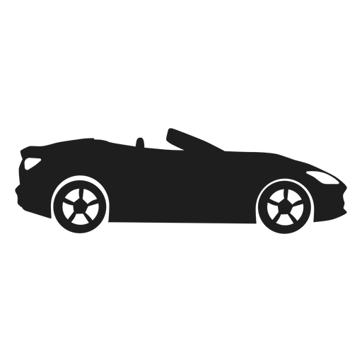 Convertible car side view silhouette