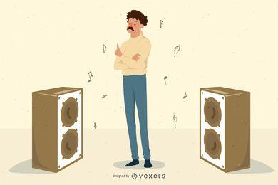 Chico de musica con altavoces