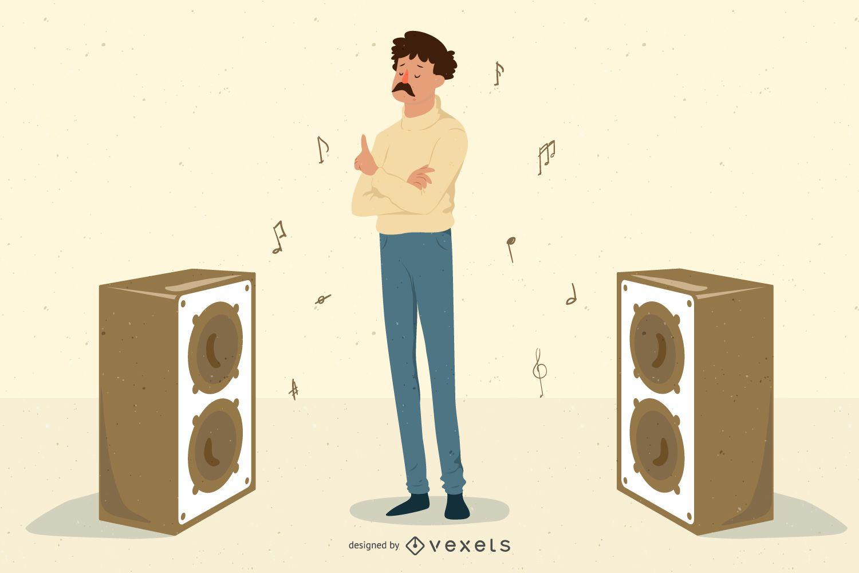 Chico de música con altavoces