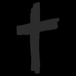 Icono dibujado a mano cruz