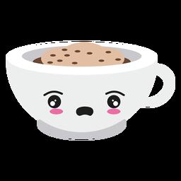 Decepcionado kawaii rosto xícara de café