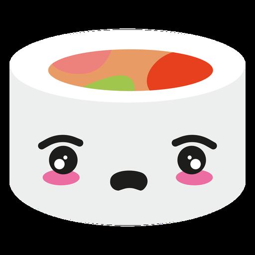 Rolo de sushi de cara kawaii decepcionado Transparent PNG