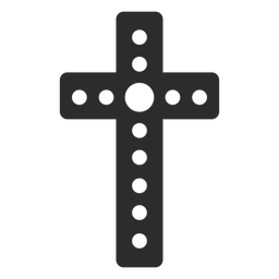 Dotted christian cross icon