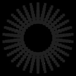 Gepunktete Strahlen Kreissymbol