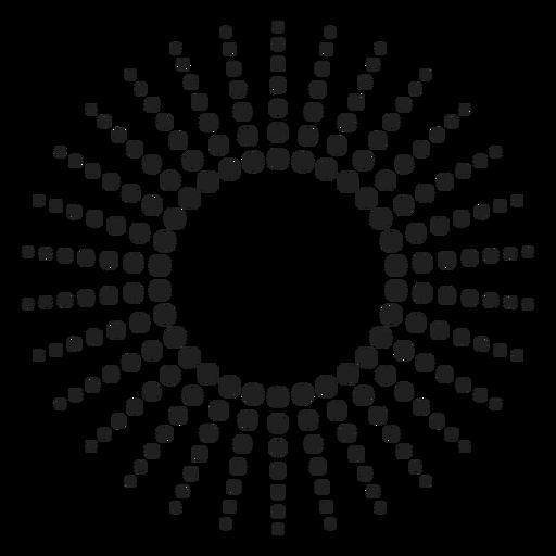 Icono de círculo de rayos punteados