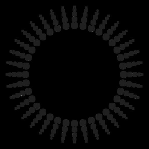 Círculo de rayos de sol punteado