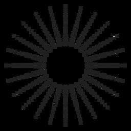 Icono punteado círculo de rayos de sol