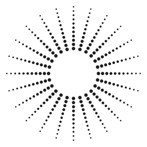 Icono de círculo de rayos de sol punteado Transparent PNG