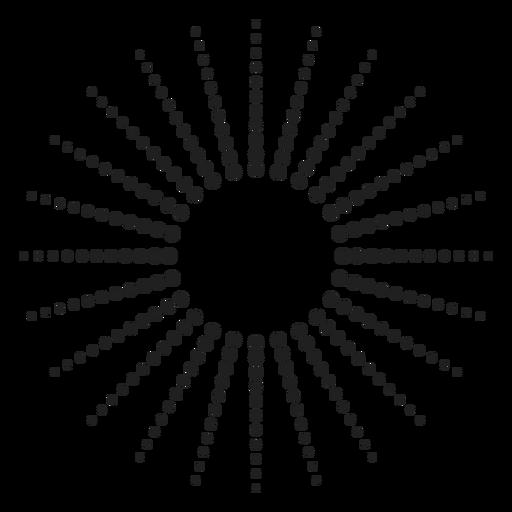 Icono de círculo de rayos de sol punteado