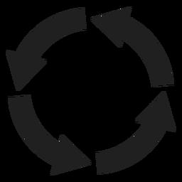 Círculo de quatro setas grossas