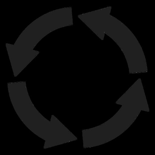 Círculo de cuatro flechas gruesas
