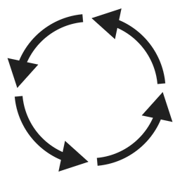 Círculo de quatro setas finas