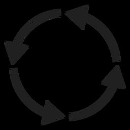 Cuatro flechas delgadas círculo