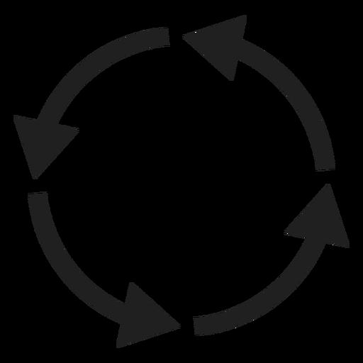 Círculo de cuatro flechas delgadas