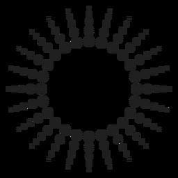 Ícone de círculo de raios de meio-tom