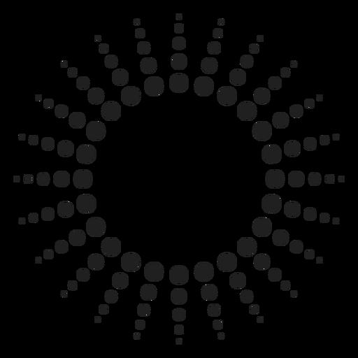 Icono de círculo de rayos de semitono