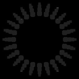 Círculo de raios de sol de meio-tom
