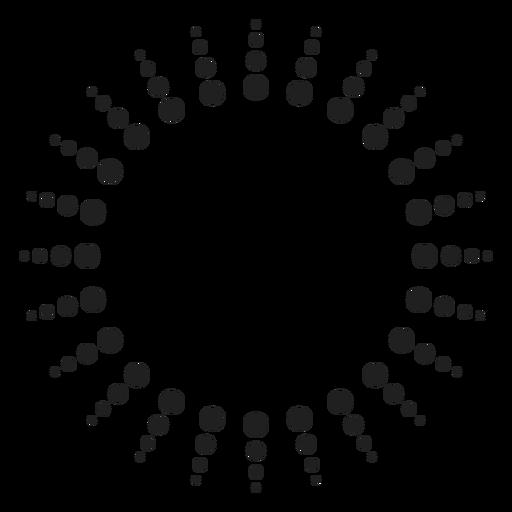 Halftone sun rays circle