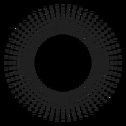 Sol de meio-tom raios ícone de círculo