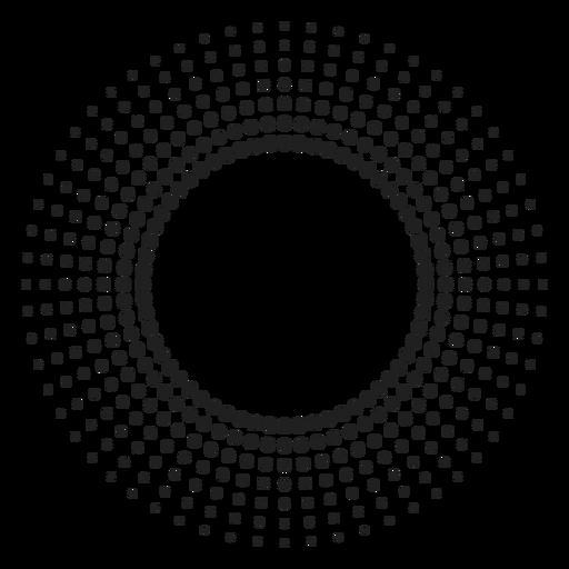 Icono de círculo de rayos de sol de semitono