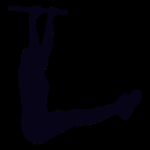 Colgando la pierna levanta la silueta del crossfit. Transparent PNG
