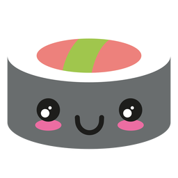 Icono de sushi de cara kawaii feliz