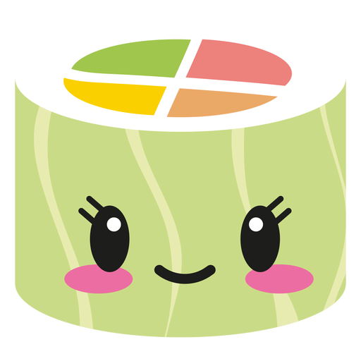Happy kawaii face sushi roll food Transparent PNG