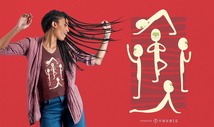 Diseño de camiseta de yoga momia
