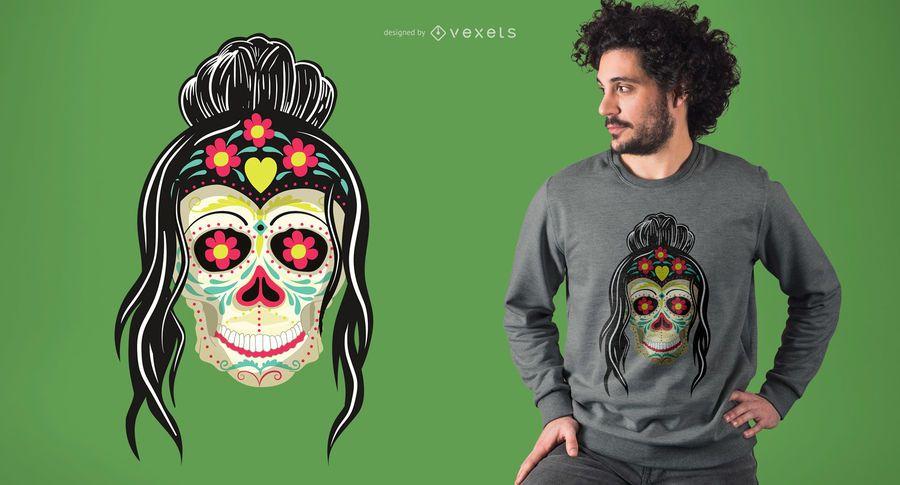 Mulher, crânio, t-shirt, desenho