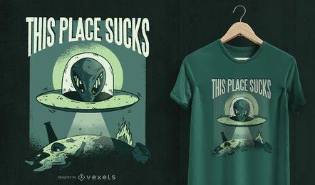 Este lugar é péssimo design de camisetas OVNI