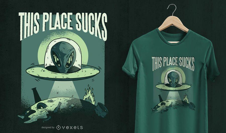 Este lugar apesta diseño de camiseta UFO