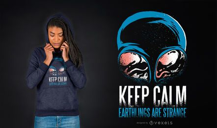 Keep calm alien t-shirt design