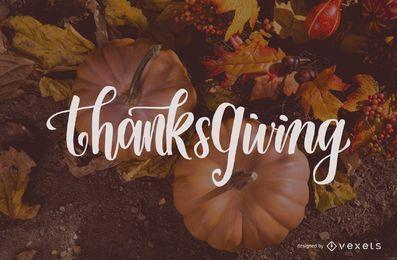 Design de letras de ação de Graças