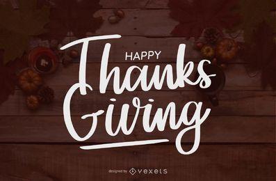 Feliz Dia de Ação de Graças Lettering Manuscrita